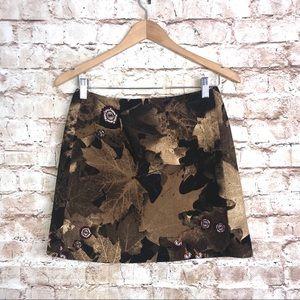 Moschino Couture Wool Leaf Print Mini Skirt Sz 8